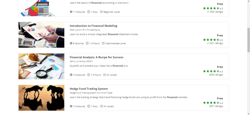 udemy courses financial education